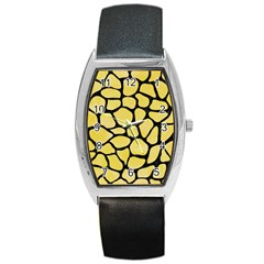 Skin1 Black Marble & Yellow Watercolor (r) Barrel Style Metal Watch by trendistuff