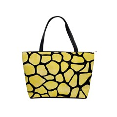 Skin1 Black Marble & Yellow Watercolor (r) Shoulder Handbags