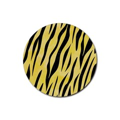Skin3 Black Marble & Yellow Watercolor Rubber Round Coaster (4 Pack)  by trendistuff