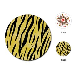 Skin3 Black Marble & Yellow Watercolor Playing Cards (round)  by trendistuff