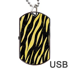 Skin3 Black Marble & Yellow Watercolor (r) Dog Tag Usb Flash (one Side) by trendistuff