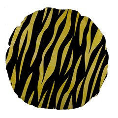 Skin3 Black Marble & Yellow Watercolor (r) Large 18  Premium Flano Round Cushions by trendistuff