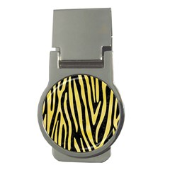 Skin4 Black Marble & Yellow Watercolor Money Clips (round)