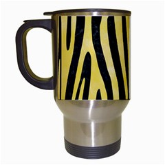 Skin4 Black Marble & Yellow Watercolor Travel Mugs (white) by trendistuff