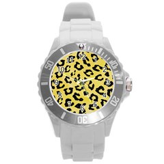 Skin5 Black Marble & Yellow Watercolor (r) Round Plastic Sport Watch (l) by trendistuff