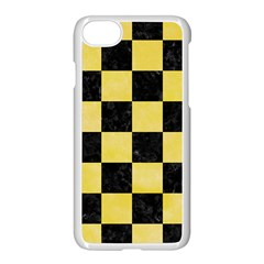 Square1 Black Marble & Yellow Watercolor Apple Iphone 7 Seamless Case (white)