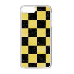 Square1 Black Marble & Yellow Watercolor Apple Iphone 8 Plus Seamless Case (white) by trendistuff