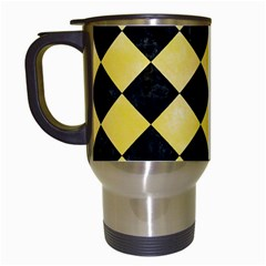 Square2 Black Marble & Yellow Watercolor Travel Mugs (white) by trendistuff