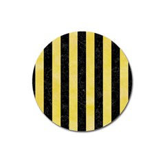 Stripes1 Black Marble & Yellow Watercolor Magnet 3  (round) by trendistuff