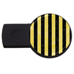 Stripes1 Black Marble & Yellow Watercolor Usb Flash Drive Round (4 Gb) by trendistuff
