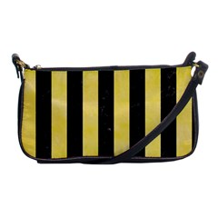 Stripes1 Black Marble & Yellow Watercolor Shoulder Clutch Bags by trendistuff