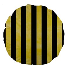 Stripes1 Black Marble & Yellow Watercolor Large 18  Premium Flano Round Cushions by trendistuff