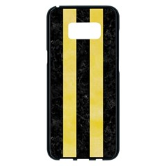 Stripes1 Black Marble & Yellow Watercolor Samsung Galaxy S8 Plus Black Seamless Case by trendistuff