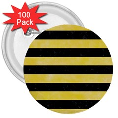 Stripes2 Black Marble & Yellow Watercolor 3  Buttons (100 Pack)  by trendistuff