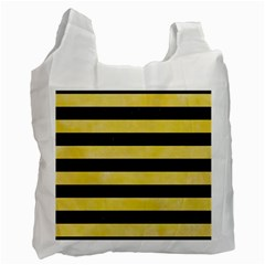 Stripes2 Black Marble & Yellow Watercolor Recycle Bag (one Side) by trendistuff