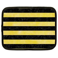 Stripes2 Black Marble & Yellow Watercolor Netbook Case (xl)