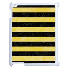 Stripes2 Black Marble & Yellow Watercolor Apple Ipad 2 Case (white) by trendistuff