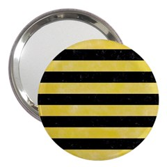 Stripes2 Black Marble & Yellow Watercolor 3  Handbag Mirrors by trendistuff
