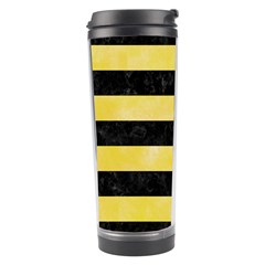 Stripes2 Black Marble & Yellow Watercolor Travel Tumbler by trendistuff
