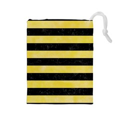 Stripes2 Black Marble & Yellow Watercolor Drawstring Pouches (large)  by trendistuff
