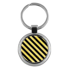 Stripes3 Black Marble & Yellow Watercolor Key Chains (round)  by trendistuff