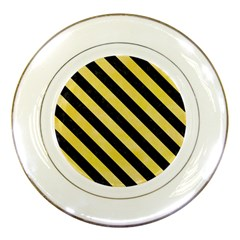 Stripes3 Black Marble & Yellow Watercolor Porcelain Plates by trendistuff