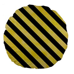 Stripes3 Black Marble & Yellow Watercolor Large 18  Premium Flano Round Cushions by trendistuff