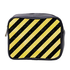 Stripes3 Black Marble & Yellow Watercolor (r) Mini Toiletries Bag 2 Side by trendistuff