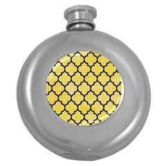 Tile1 Black Marble & Yellow Watercolor Round Hip Flask (5 Oz) by trendistuff