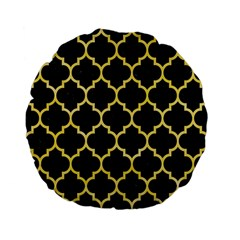 Tile1 Black Marble & Yellow Watercolor (r) Standard 15  Premium Flano Round Cushions by trendistuff