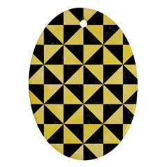 Triangle1 Black Marble & Yellow Watercolor Ornament (oval) by trendistuff
