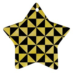 Triangle1 Black Marble & Yellow Watercolor Star Ornament (two Sides) by trendistuff