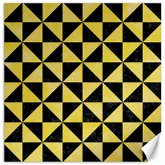 Triangle1 Black Marble & Yellow Watercolor Canvas 12  X 12