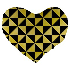 Triangle1 Black Marble & Yellow Watercolor Large 19  Premium Heart Shape Cushions by trendistuff