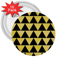 Triangle2 Black Marble & Yellow Watercolor 3  Buttons (10 Pack)  by trendistuff