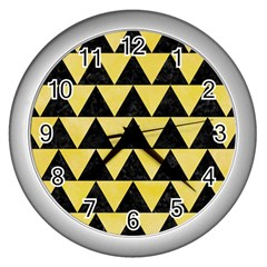 Triangle2 Black Marble & Yellow Watercolor Wall Clocks (silver)  by trendistuff