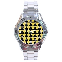 Triangle2 Black Marble & Yellow Watercolor Stainless Steel Analogue Watch by trendistuff