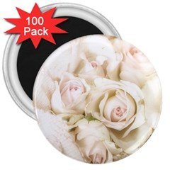 Pastel Roses Antique Vintage 3  Magnets (100 Pack) by Celenk