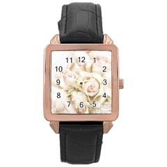 Pastel Roses Antique Vintage Rose Gold Leather Watch