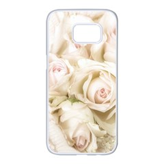 Pastel Roses Antique Vintage Samsung Galaxy S7 Edge White Seamless Case by Celenk