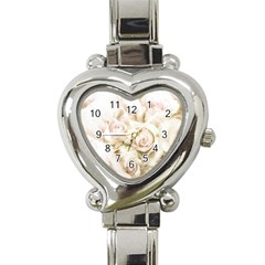 Pastel Roses Antique Vintage Heart Italian Charm Watch