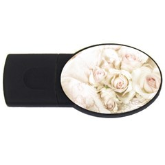 Pastel Roses Antique Vintage Usb Flash Drive Oval (4 Gb) by Celenk