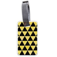 Triangle3 Black Marble & Yellow Watercolor Luggage Tags (one Side)  by trendistuff