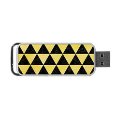 Triangle3 Black Marble & Yellow Watercolor Portable Usb Flash (one Side) by trendistuff