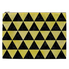 Triangle3 Black Marble & Yellow Watercolor Cosmetic Bag (xxl)  by trendistuff