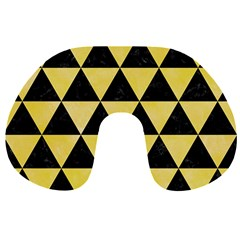 Triangle3 Black Marble & Yellow Watercolor Travel Neck Pillows by trendistuff