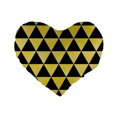 Triangle3 Black Marble & Yellow Watercolor Standard 16  Premium Flano Heart Shape Cushions by trendistuff