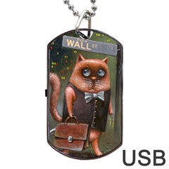 Wall St Dog Tag Usb Flash (one Side) by Koolcat