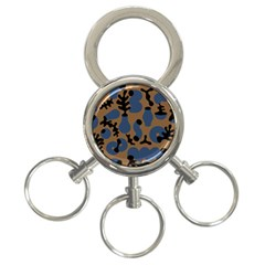 Superfiction Object Blue Black Brown Pattern 3 Ring Key Chains by Mariart