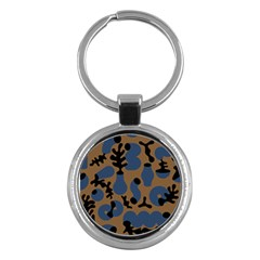Superfiction Object Blue Black Brown Pattern Key Chains (round)  by Mariart